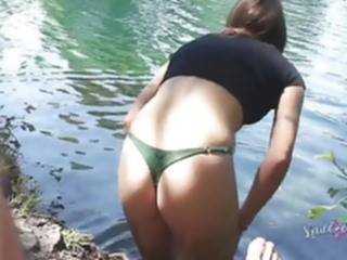 blowjob public creampie at the lake cumshot